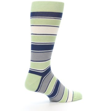 Image of Pistachio Green Stripe Men's Dress Socks (side-1-back-22)