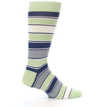 Image of Pistachio Green Stripe Men's Dress Socks (side-1-23)
