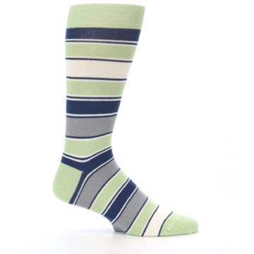 Image of Pistachio Green Stripe Men's Dress Socks (side-1-24)