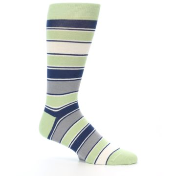 Image of Pistachio Green Stripe Men's Dress Socks (side-1-25)