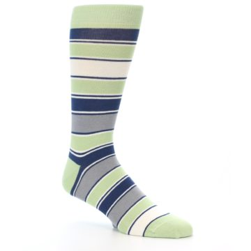 Image of Pistachio Green Stripe Men's Dress Socks (side-1-26)