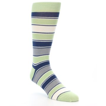 Image of Pistachio Green Stripe Men's Dress Socks (side-1-27)