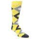 Image of Daisy Yellow Gray Argyle Men's Dress Socks (side-1-front-01)