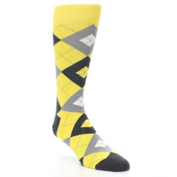 Image of Daisy Yellow Gray Argyle Men's Dress Socks (side-1-front-02)