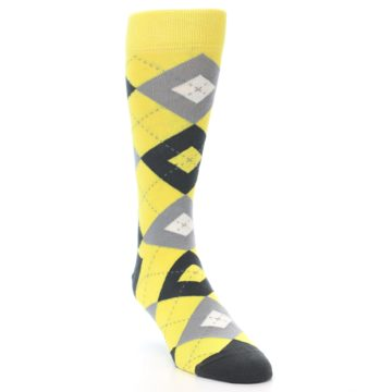 Image of Daisy Yellow Gray Argyle Men's Dress Socks (side-1-front-03)