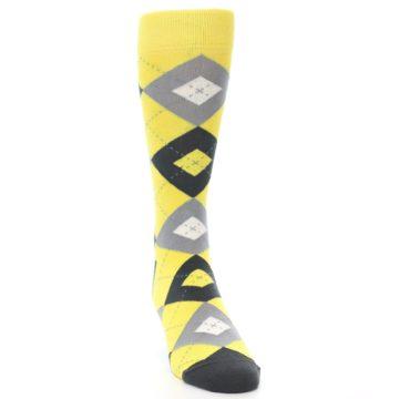 Image of Daisy Yellow Gray Argyle Men's Dress Socks (front-04)