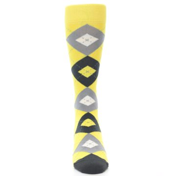 Image of Daisy Yellow Gray Argyle Men's Dress Socks (front-05)