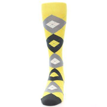 Image of Daisy Yellow Gray Argyle Men's Dress Socks (side-2-front-06)