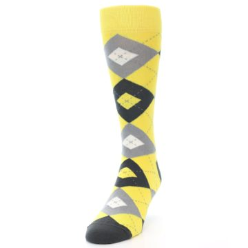 Image of Daisy Yellow Gray Argyle Men's Dress Socks (side-2-front-07)