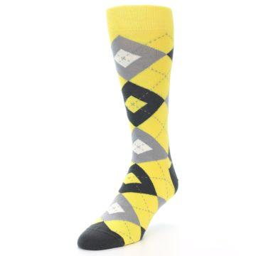 Image of Daisy Yellow Gray Argyle Men's Dress Socks (side-2-front-08)