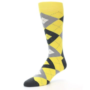 Image of Daisy Yellow Gray Argyle Men's Dress Socks (side-2-09)