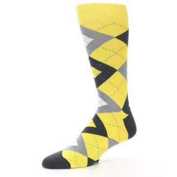 Image of Daisy Yellow Gray Argyle Men's Dress Socks (side-2-10)