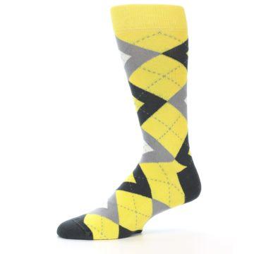 Image of Daisy Yellow Gray Argyle Men's Dress Socks (side-2-11)