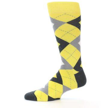 Image of Daisy Yellow Gray Argyle Men's Dress Socks (side-2-12)