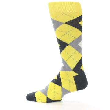 Image of Daisy Yellow Gray Argyle Men's Dress Socks (side-2-13)