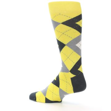Image of Daisy Yellow Gray Argyle Men's Dress Socks (side-2-back-14)