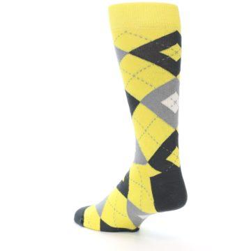 Image of Daisy Yellow Gray Argyle Men's Dress Socks (side-2-back-15)