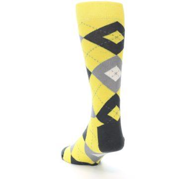 Image of Daisy Yellow Gray Argyle Men's Dress Socks (side-2-back-16)
