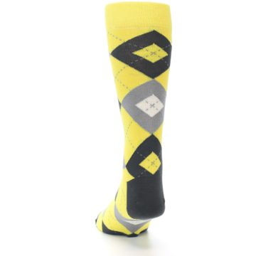 Image of Daisy Yellow Gray Argyle Men's Dress Socks (back-17)