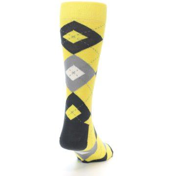 Image of Daisy Yellow Gray Argyle Men's Dress Socks (side-1-back-20)