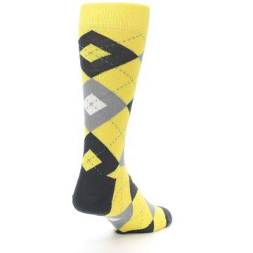 Image of Daisy Yellow Gray Argyle Men's Dress Socks (side-1-back-21)