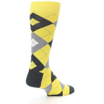 Image of Daisy Yellow Gray Argyle Men's Dress Socks (side-1-back-22)