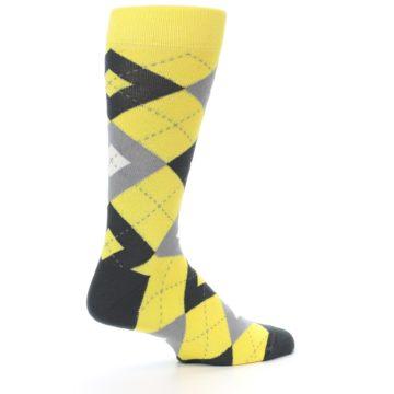 Image of Daisy Yellow Gray Argyle Men's Dress Socks (side-1-23)