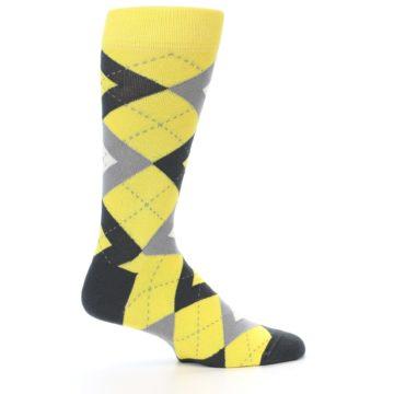 Image of Daisy Yellow Gray Argyle Men's Dress Socks (side-1-24)