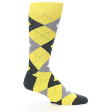 Image of Daisy Yellow Gray Argyle Men's Dress Socks (side-1-25)