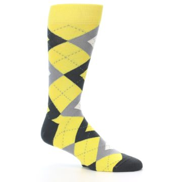 Image of Daisy Yellow Gray Argyle Men's Dress Socks (side-1-26)