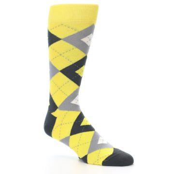 Image of Daisy Yellow Gray Argyle Men's Dress Socks (side-1-27)
