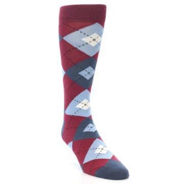 Image of Apple Red Blue Argyle Men's Dress Socks (side-1-front-02)