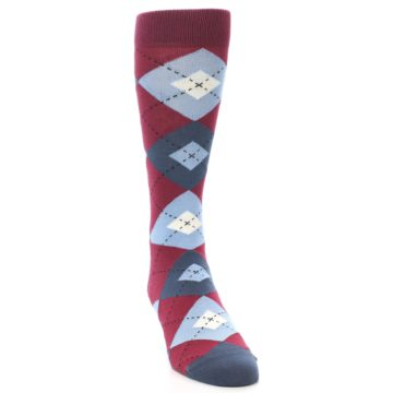 Image of Apple Red Blue Argyle Men's Dress Socks (side-1-front-03)