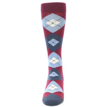 Image of Apple Red Blue Argyle Men's Dress Socks (front-05)
