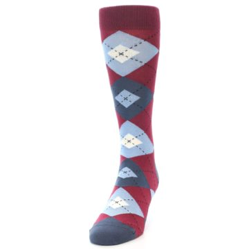 Image of Apple Red Blue Argyle Men's Dress Socks (side-2-front-06)
