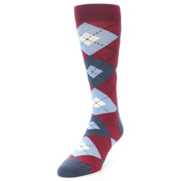 Image of Apple Red Blue Argyle Men's Dress Socks (side-2-front-07)