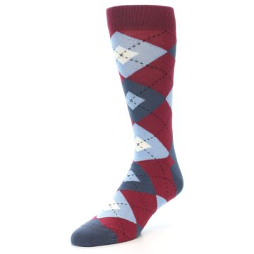 Image of Apple Red Blue Argyle Men's Dress Socks (side-2-front-08)