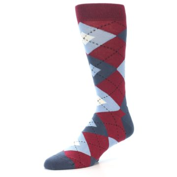 Image of Apple Red Blue Argyle Men's Dress Socks (side-2-09)