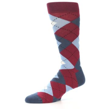 Image of Apple Red Blue Argyle Men's Dress Socks (side-2-10)