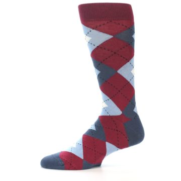 Image of Apple Red Blue Argyle Men's Dress Socks (side-2-11)