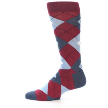 Image of Apple Red Blue Argyle Men's Dress Socks (side-2-12)