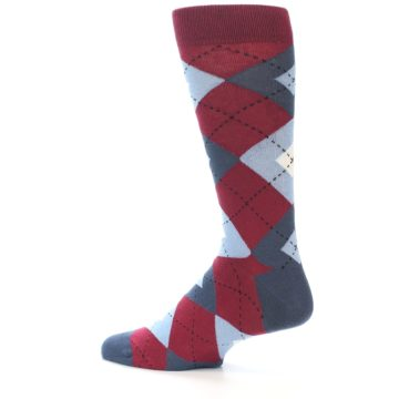 Image of Apple Red Blue Argyle Men's Dress Socks (side-2-13)