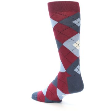 Image of Apple Red Blue Argyle Men's Dress Socks (side-2-back-14)