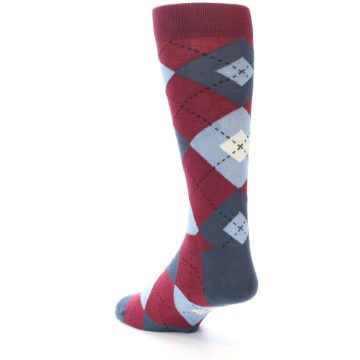 Image of Apple Red Blue Argyle Men's Dress Socks (side-2-back-15)