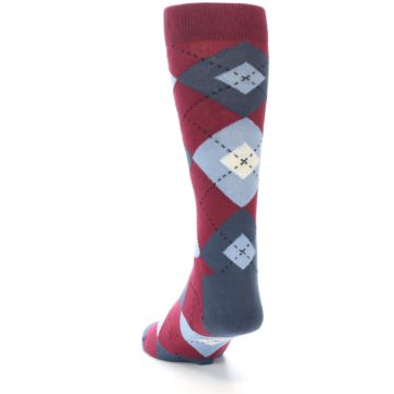 Image of Apple Red Blue Argyle Men's Dress Socks (side-2-back-16)