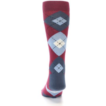 Image of Apple Red Blue Argyle Men's Dress Socks (back-17)