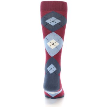 Image of Apple Red Blue Argyle Men's Dress Socks (back-18)