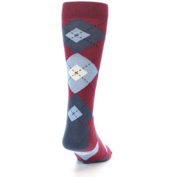 Image of Apple Red Blue Argyle Men's Dress Socks (back-19)