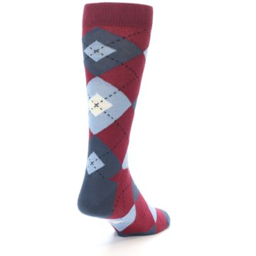 Image of Apple Red Blue Argyle Men's Dress Socks (side-1-back-20)