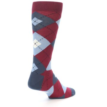 Image of Apple Red Blue Argyle Men's Dress Socks (side-1-back-21)